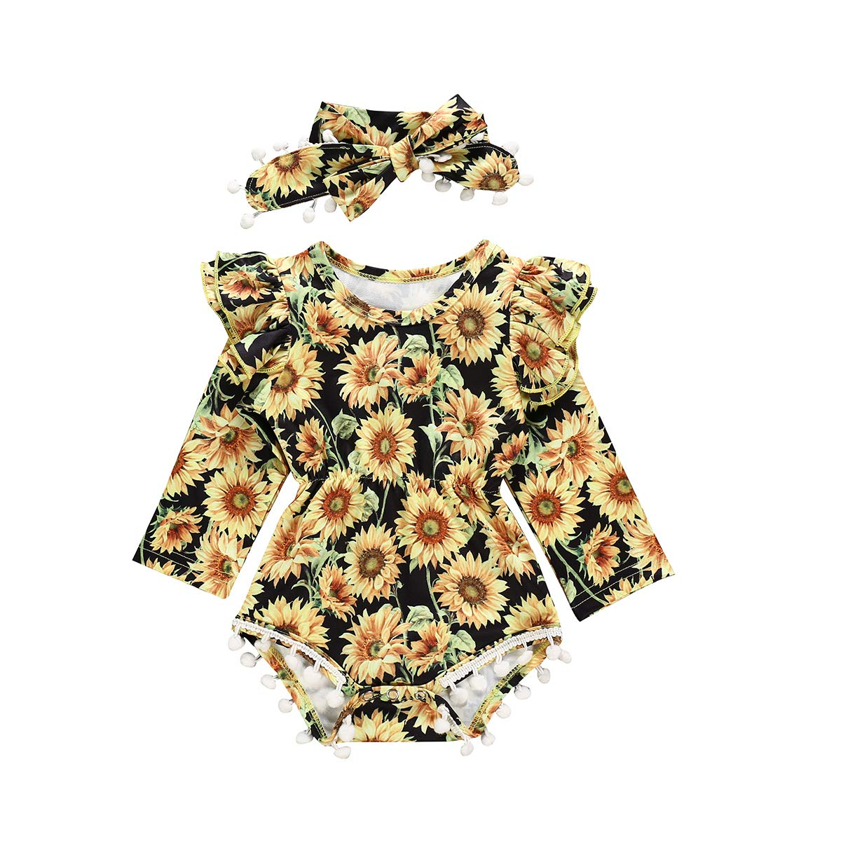 Newborn Infant Baby Girl Sunflower Outfit Floral Ruffle Romper Jumpsuit Bodysuit with Headband Clothes Set