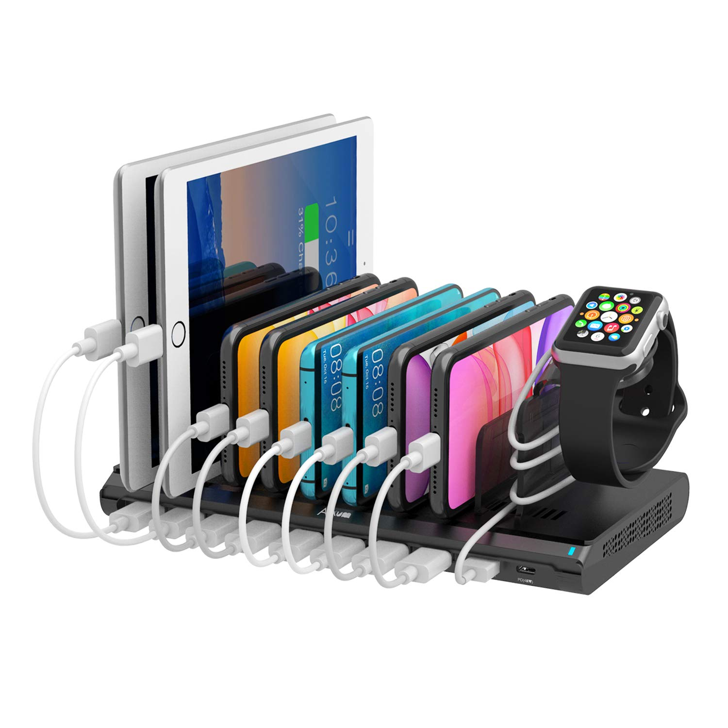 Alxum USB C Charging Station, 120W 10 Port USB Charger Dock, 45W PD&QC 3.0 Power Delivery Port with iWatch Charger Stand, Compatible with MacBook Pro/Air, iPad Pro 2018, iPhone, Galaxy, Pixel, Kindle