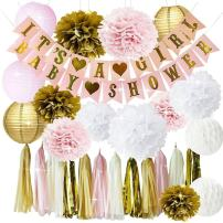 Pink and Gold Baby Shower Decorations for Girl BABY SHOWER IT'S A GIRL Garland Bunting Banner Tissue Paper Pom Poms Flowers Paper Lanterns Paper Honeycomb Balls Tissue Paper Tassel Party Decorations