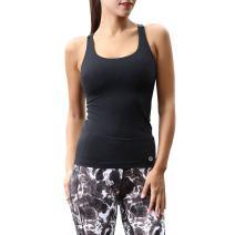 Women's Yoga Tank Top Built in Shelf Bra, Sleeveless Workout T-Shirt Dry Fit Exercise Tanks