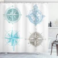 """Ambesonne Compass Shower Curtain, 4 Different Windrose with Faded Look Nautical Equipment Sea Life, Cloth Fabric Bathroom Decor Set with Hooks, 70"""" Long, White Beige"""