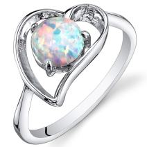 Created Opal Ring Sterling Silver Heart Design 0.75 Carats Sizes 5 to 9