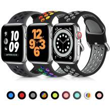 Lerobo 3 Pack Compatible with Apple Watch Band 40mm 38mm 44mm 42mm, Soft Silicone Sport Strap Breathable Wristband Replacement Bands for iWatch Series 6 5 4 3 2 1 SE Men and Women, 38mm/40mm-S/M