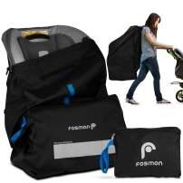 Fosmon Infant Car Seat Travel Bag for Airplane, Nylon Backpack Style Padded Adjustable Shoulder Strap, Drawstring Airline Gate Check Bag for Infant Car Seats, Carrier, Booster - Universal Size