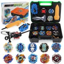 JIMI Bey Battling Top Burst Gyro Toy Set Combat Battling Game 10 Spinning Tops 3 Launchers with Portable Storage Box Gift for Kids Children Boys Ages 6+