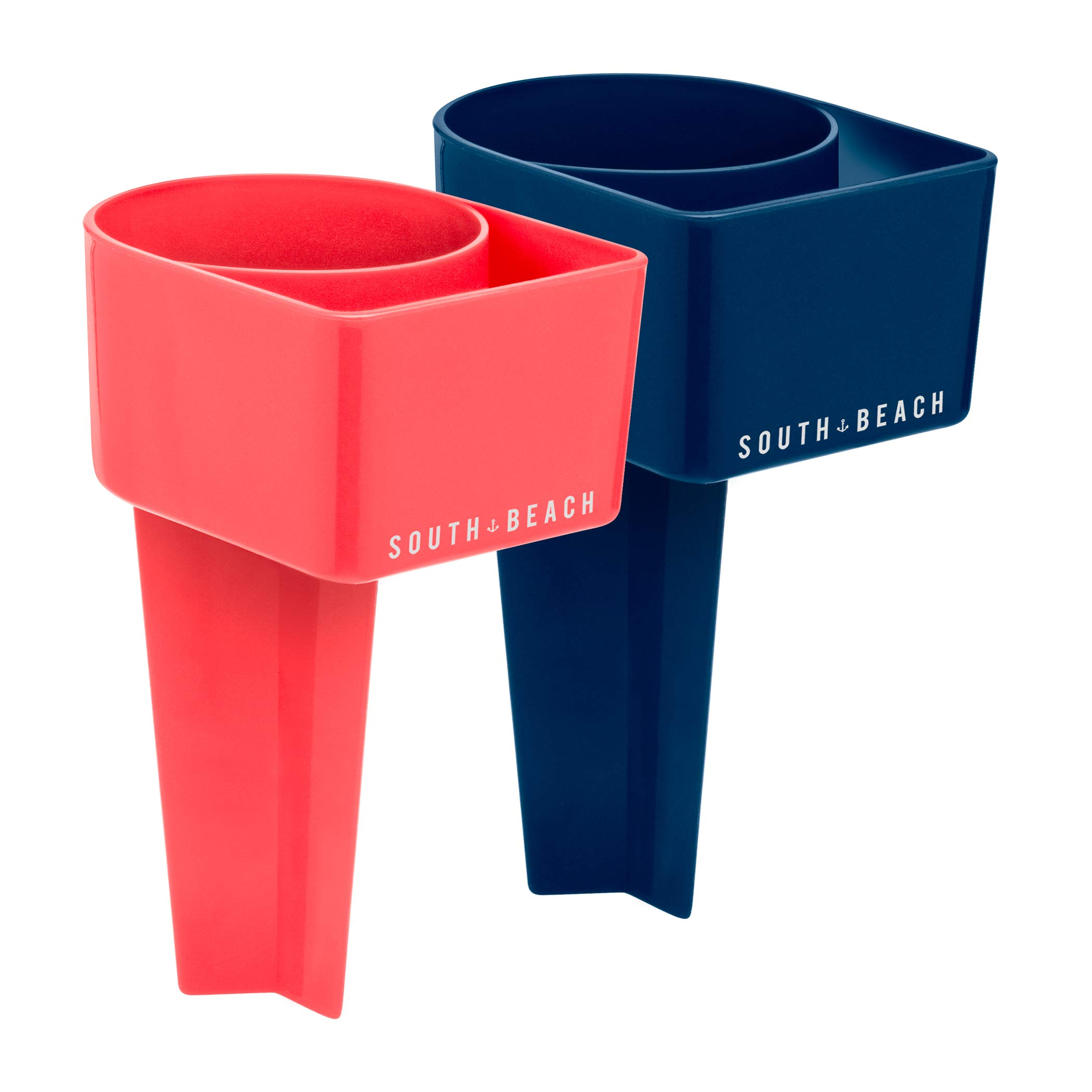 SOUTH BEACH Stick in Sand Drink Holders - Set of 2 - Perfect for The Beach - Includes Slot for Your Phone (Coral/Navy)