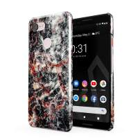 BURGA Phone Case Compatible with Google Pixel 3 - Volcano Island Lava Fire Black Marble Cute Case for Girls Thin Design Durable Hard Shell Plastic Protective Case