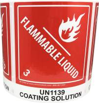 Laminated UN1139 Coating Solution Paint Flammable Liquid Hazard Class 3 Pre-Printed Labels 4 x 4.75 Inch 500 Total Stickers on a Roll