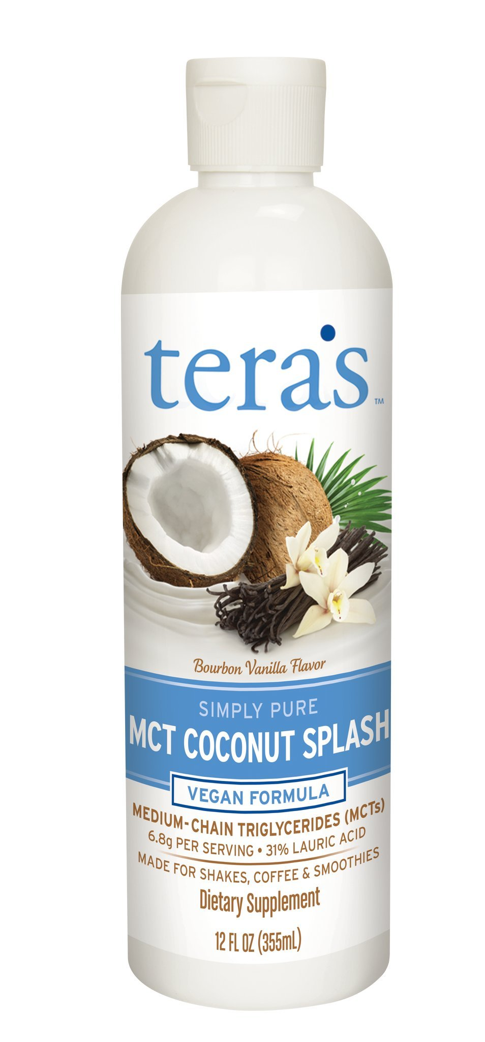 Tera's Whey MCT Oil Coconut Splash Emulsion 12 Ounce Vegan MCT Oil For Coffee, Smoothies, Shakes