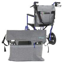 Vive Wheelchair Bag - Wheel Chair Storage Tote Accessory for Carrying Loose Items and Accessories - Travel Messenger Backpack for Men, Women, Handicap, Elderly - Accessible Pouch and Pockets, (Gray)