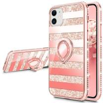 VEGO Compatible for iPhone 11 Case with Ring Holder, Glitter Case with Kickstand for Women Girls Bling Diamond Rhinestone Sparkly Bumper Fashion Cute Protective Fancy Stand Case(Stripe Rosegold)