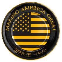 """Crisky 50th Birthday Plates Black and Gold Dessert, Buffet, Cake, Lunch, Dinner Plates for 50th Birthday Decorations Party Supplies, Making America Great Since 1970. 50 Count, 9"""" Plate"""