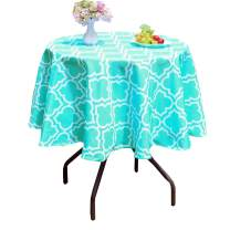Poise3EHome 60 inches Outdoor/Indoor Waterproof Spillproof Round Tablecloth for Camping, Picnic, Afternoon Tea, BBQ, Aqua Blue