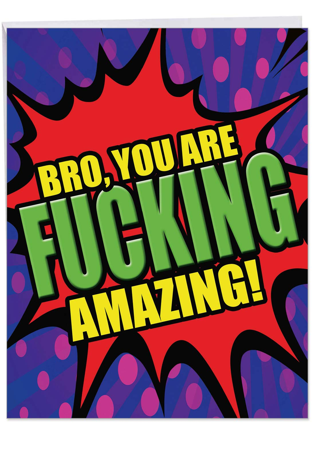 Hilarious F-King Amazing Brother Thank You Card with Envelope (Large 8.5 x 11 Inch) - Adult Humor Occasion Notecard for Brother, Sibling - Personalized Appreciation Stationery Greeting J4965CBXG