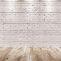 SJOLOON White Brick Photography Backdrop Brick Photo Backdrop for Birthday Photography Portrait Photoshoot Studio Props 11878 (8x8FT)