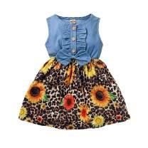 Toddler Baby Girl Summer Dress Clothes Leopard Floral Sleeveless Bowknot Dresses Linen Sundress Outfit