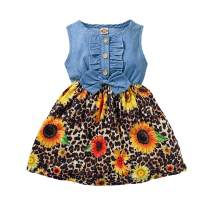 Toddler Baby Girl Summer Dress Clothes Leopard Floral Sleeveless Bowknot Dresses Linen Sundress Outfit