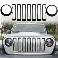 Opall Mesh Front Grille Grill Insert &Front Headlight Turn Light Bezels Cover Trim fits for 2018-2021 Jeep Wrangler JL JLU