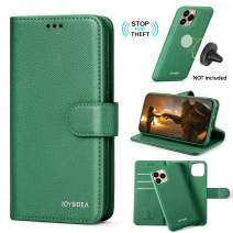 """JOYSIDEA 2-in-1 iPhone 11 Wallet Case Magnetic Detachable, Slim Vegan Leather Flip Folio Case with Card Holder, RFID Protection, Kickstand, Fit Car Mount & Wireless Charging for iPhone 11 6.1"""", Green"""
