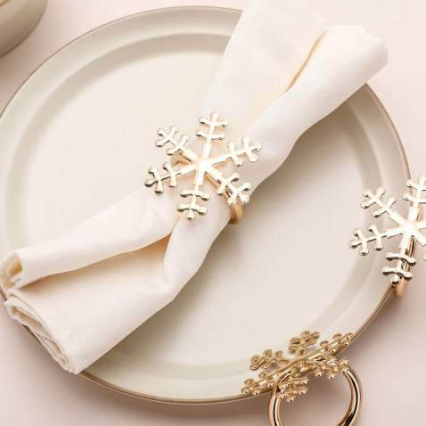 AW BRIDAL Snowflake Napkin Rings Set of 6 for Christmas New Year Holidays Dinner Parties Weddings Receptions or Everyday Use,Light Gold