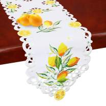 Simhomsen Small Embroidered Lemon Table ruuners and doilies, Table Decors for Spring and Summer 14 × 34 Inch