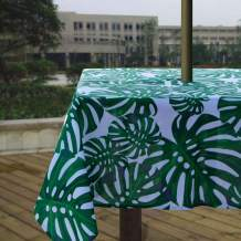 Melaluxe Heavyweight Wrinkle-Free Stain Resistant Waterproof Outdoor Tablecloth with Umbrella Hole and Zipper, Green Leaves, 60 Inch Square