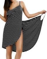 ZANZEA Women Spaghetti Strap Backless Striped Summer Swimsuit Bikini Cover Up Wrap Dress Beach Mini Sundress Black S