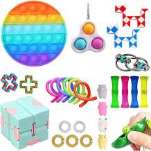 Komoo Fidget Pack Cheap Toys Set Simple Dimple Figetget Toys Infinite Cube Stress Ball and Anti-Anxiety Toys Kill Time (B)