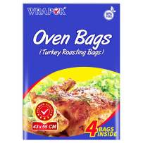WRAPOK Oven Cooking Turkey Bags Large Size Ribs Baking Roasting Bags No Mess For Chicken Meat Ham Poultry Fish Seafood Vegetable - 4 Bags (17 x 21.5 Inch)
