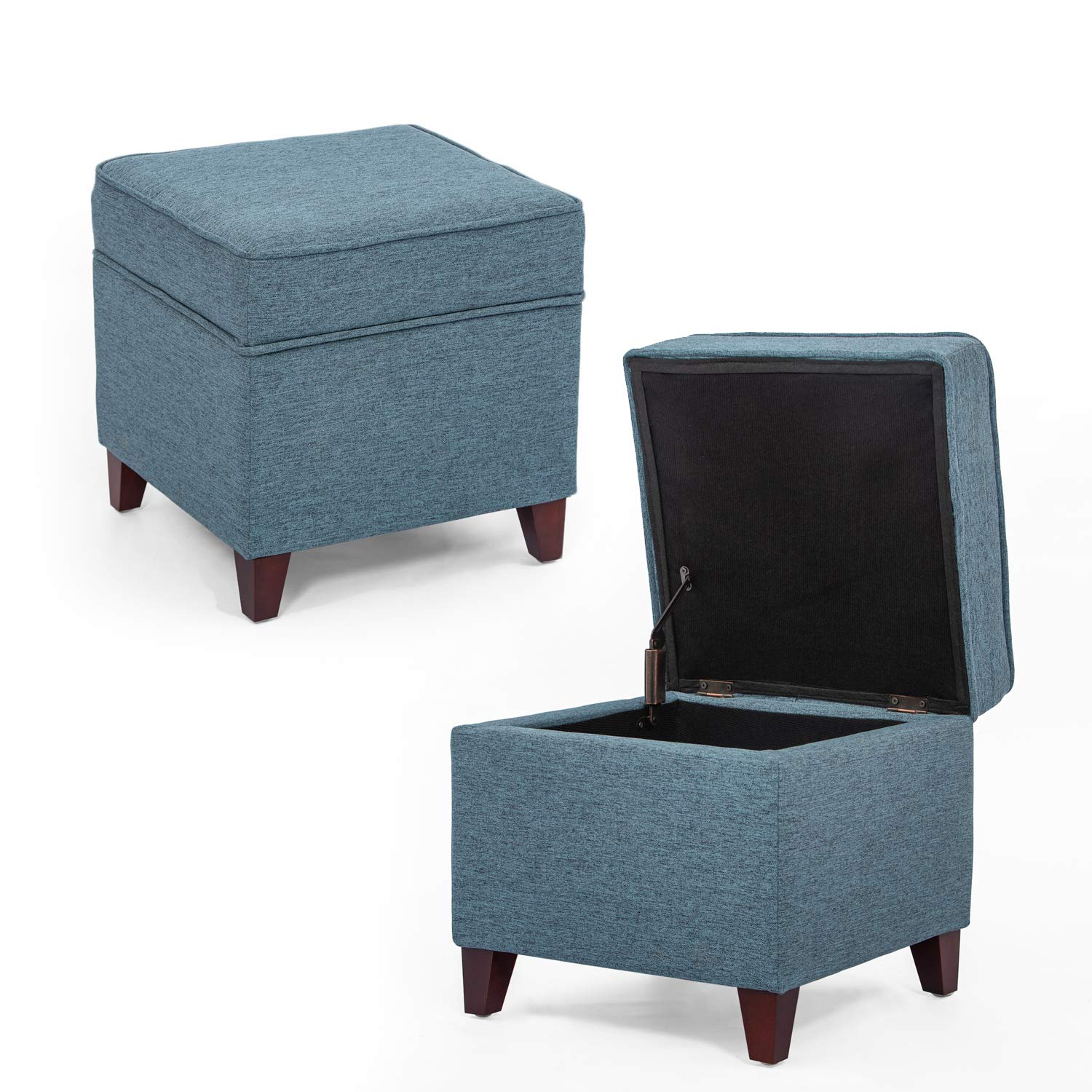 Homebeez Storage Ottoman Square Footrest Stool Small Fabric Bench (Teal)