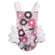 YOUNGER TREE Toddler Donut Romper Baby Girl First Birthday Romper Ruffle Sleeveless Backless Summer Outfits Clothes