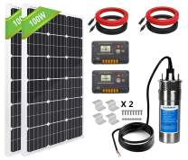 ECO-WORTHY Solar Well Pump Kit for Watering 24 Volt - 1pc Submersible Solar Water Pump + 2pcs 100W Poly Solar Panel + 20A LCD Display Charge Controller