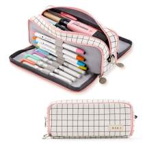 ANGOOBABY Large Pencil Case Big Capacity 3 Compartments Canvas Pencil Pouch for Teen Boys Girls School Students (Pink Strip Black Grid)