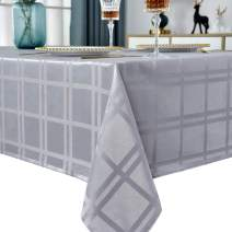 """Rectangle Tablecloth Plaid Style Polyester Table Cloth Spillproof Wrinkle Resistant Shrinkproof Heavy Weight Table Cover Kitchen Dinning Tabletop(Rectangle/Oblong, 52"""" x 70"""" (4-6 Seats), Grey)"""