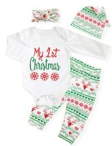 4Pcs My First Christmas Clothing Toddler Baby Boys Girls Rompers Long Sleeve Newborn Outfits Set