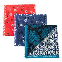 """Bandanas for Women,3 Packs 100% Combed Cotton 22"""" x 22"""" Kerchiefs,Unisex Multi-functional Headbands and Scarves"""