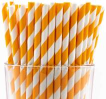 Pack of 300 Orange Swirls Biodegradable 4-Ply Paper Drinking Straws (Compostable, Non-toxic, BPA-free)