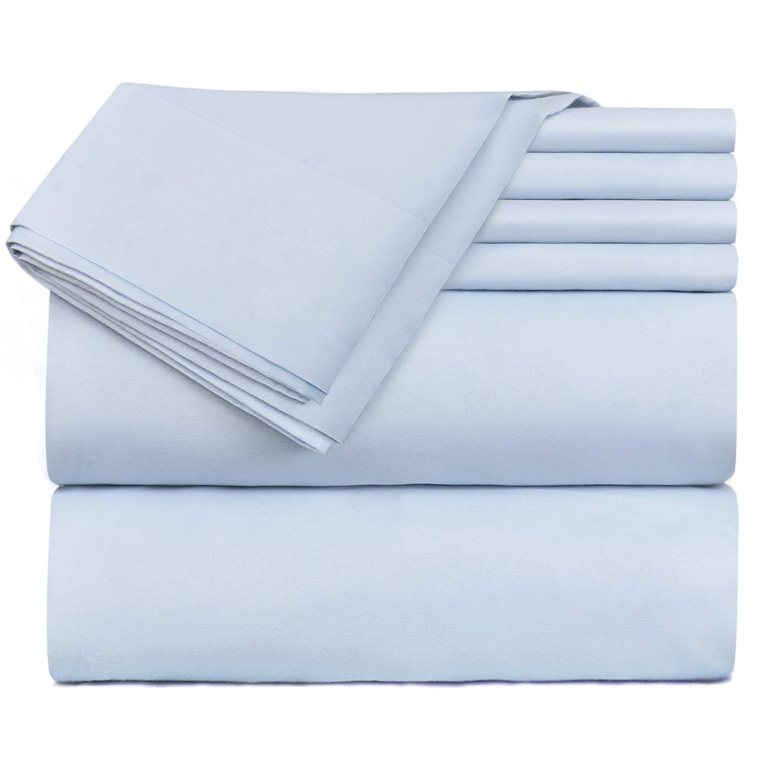 Hearth & Harbor 6 Piece Bed Sheet Set Extra Deep Pocket, Fits Mattress from 18-24 inces Depth, King, Ice Blue