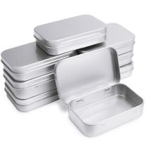 Metal Silver Rectagular Hinged Tin Box, Amariver 8 Pack Tin Plate Box Mini Portable Tin Box Silver Metal Storage Container 3.75 x 2.45 x 0.8 Inch
