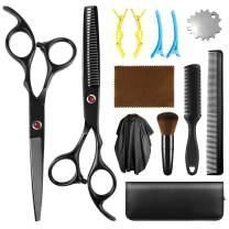 Hair Cutting Scissors Set, Yedda Professional 13 Pcs Haircut Scissors Kit Thinning Shears Multi-Use Haircut Kit Scissors Comb, Clips, Cape, Haircut Shears Set For Barber Salon Home Women Men