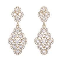 BriLove Women's Wedding Bridal Rhombus Crystal Simulated Pearl Hollow Chandelier Clip-On Dangle Earrings