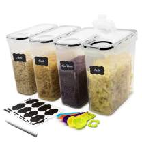 DDF iohEF Large Food Storage Containers Set, 4 PACKS 4L /135 oz Airtight Cereal Containers, BPA Free Plastic, for Kitchen Pantry Organization and Storage - Labels, Marker and Spoons Set