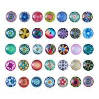 Pandahall 50pcs Mosaic Printed Flat Back Glass Half Round/Dome Cabochons 25mm for DIY Jewelry Making