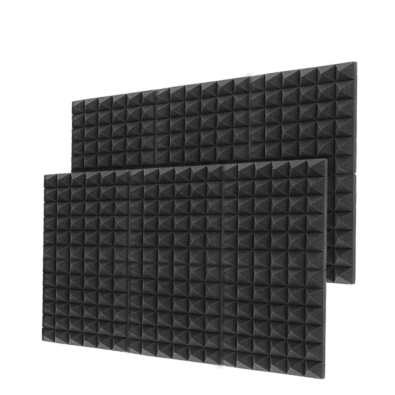 "Little-Lucky Acoustic Foam Panels,SoundProof Padding Foam Panels,2"" X 12"" X 12"" Studio Foam Pyramid Tiles Sound Absorbing Dampening Foam Treatment Wall Panels -12Pack (12Pack, Black)"