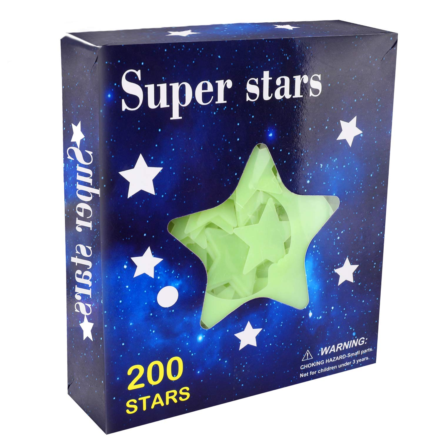MA STRAP 200pcs Glow in The Dark Star and 1 Bonus Moon Sticker with Two Adhesives Best for Children&Toddlers Room Decoration,Wall Stickers,Ceiling Decor