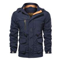 Men's Winter Windproof Military Jacket Hooded Fleeced Lined Cotton Outwear Coat