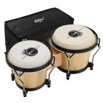 """Eastar Bongo Drums 6"""" and 7"""" Wood Percussion Instrument Bongos for Kids Adults Beginners Natural Finish, EBO-1"""