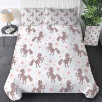 Sleepwish Pink Unicorn Bedding Set 3 Pieces Leopard Dot and Stars Pattern Duvet Cover Cute Unicorn Comforter Cover for Full Size Bed Girly Chic Horse Bed Spreads