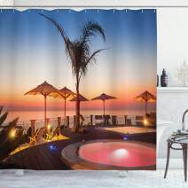 """Ambesonne Landscape Shower Curtain, Summer Time Resort Place Sea at Evening Caribbean Warm Tranquil Calm Relaxation, Cloth Fabric Bathroom Decor Set with Hooks, 75"""" Long, Blue Pink"""