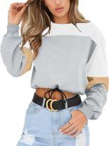 Angashion Womens Sweatshirt-Long Sleeve Drawstring Hem Color Block Crop Top Pullover Tops